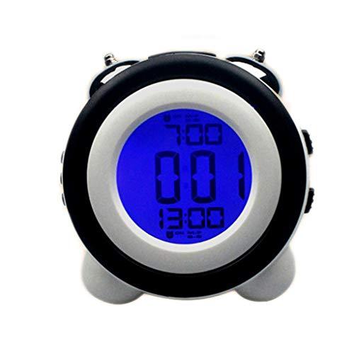 LED elektronische wekker Mute Night Light Dubbele bel bel Snooze Faulenzer Modern Mode eenvoudig bed Mooi Huis Persoonlijkheid Creatief meerkleurig 11,4 cm x 7,9 cm x 11,5 cm Zwart