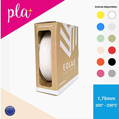 EOLAS Filamento impresión 3D 100{1cfdbe56a04257b47b676b649e7b17ccb00e8c04062525415f765157d6120985} PLA+, Made in Spain, Food safe, Toys safe Certified (1,75mm / 1Kg, BLANCO)