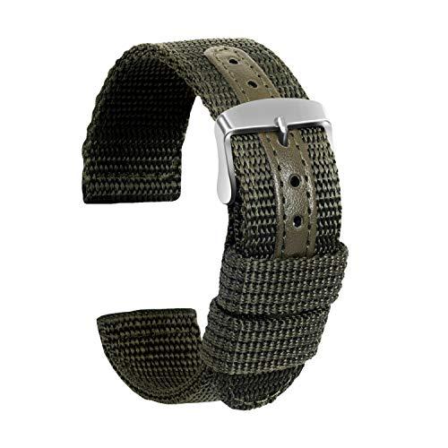 Ullchro Nylon Cinturini Orologi Alta qualità Tela di canapa Orologi Bracciale Militari Esercito - 18mm, 20mm, 22mm, 24mm Cinturino Orologio Fibbia Dell'acciaio Inossidabile (20mm, verde militare)