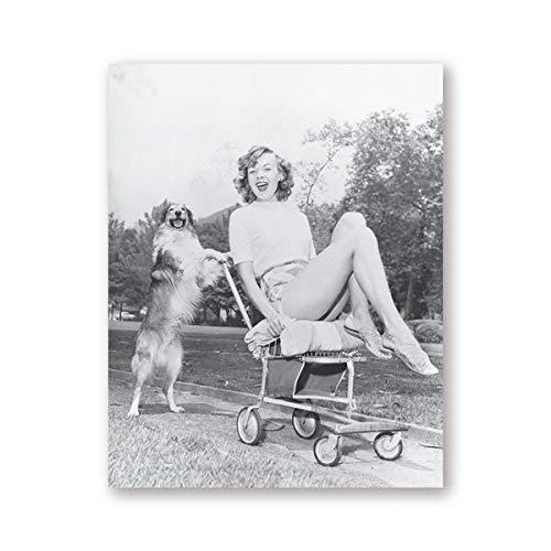 penbiubiu Jongen vrouw en Cocker Spaans huisdier hond afdrukken zwart wit fotografie Nordic Vintage Poster Home muur kunst decor canvas schilderij 20x25cm No Frame Ph4284
