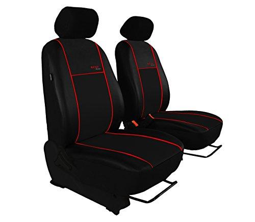 POK-TER BUS Bus Sitzbezüge Kunstleder - Super Qualität Passend für Vito 638/639 (Fahrersitz + Beifahrersitz). Hier mit Roter Lamelle.