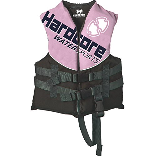 Hardcore Water Sports Child Life Jacket Vest for 30-50 lbs. | US Coast Guard Approved (Pink, Child)