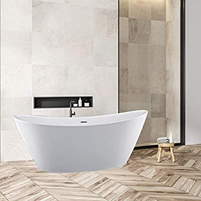 Empava 59 in Free Bathtubs Acrylic Streamline Stand Alone Soaking Tubs with Overflow and Drain in White, 59 Inch
