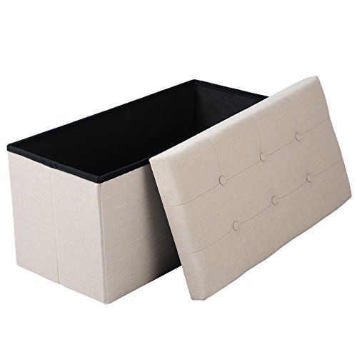 eSituro SOM0015 Sitzhocker Aufbewahrungsbox Fußhocker Sitzbank Sitzwürfel mit Stauraum Deckel Abnehmbar Leinen Cremeweiß