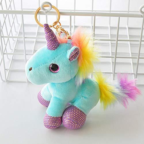 yanqiu Juguete suave en forma de unicornio, juguete de felpa, con colgante en forma de máquina, juguete de colores, mochila, llavero para niñas (1-BL)