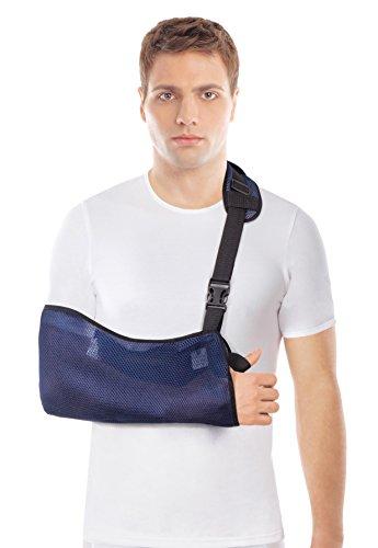 Armschlinge atmungsacitv mit weich gepolstertem Schultergurt - Comfort Fit mit verbesserter Ellbogen Schutz und Stabilität - Reduzieren Sie den Schmerz von Verletzungen- Blau - Small