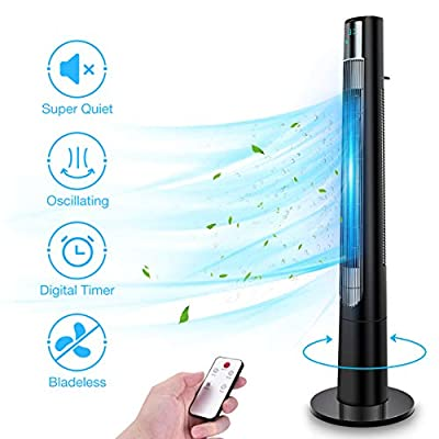 48'' Oscillating Tower Fan - Remote Control Cooling Fan for Rooms with 3 Modes & 3 Speeds, Built-in Timer LED Display, Bladeless Fan Standing Fan Floor Fan Ideal for Home Bedroom Office Use, Black