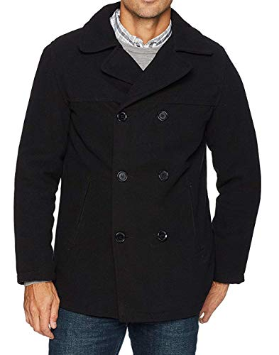 Excelled Men's Polyester Peacoat, Black, Medium