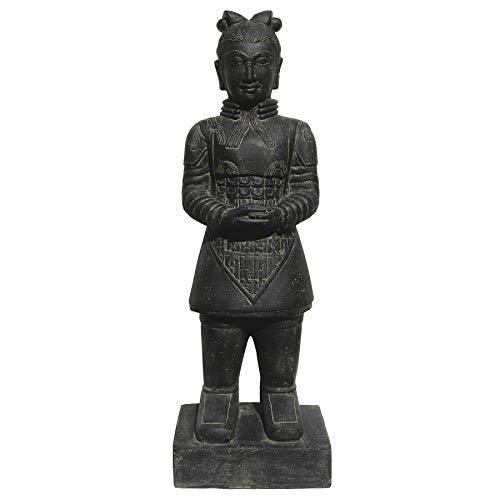 Stone art & more Guerrier chinois 120 cm Figurine en pierre coulée résistante au gel