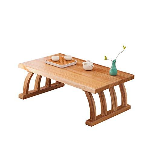 Tables Meubles Bureau Chambre en Bois Massif Salon en Bois Massif Balcon Petite Basse à thé Japonaise à thé en Bois Massif de ménage (Color : Wood Color, Size : 110cm)