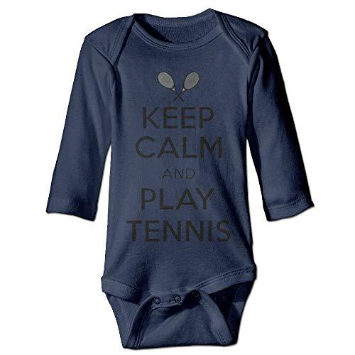 Body de manga larga para bebé con diseño de orugas, unisex, para bebé, para mantener la calma y jugar al tenis, bebé, de manga larga, traje de sol, azul marino