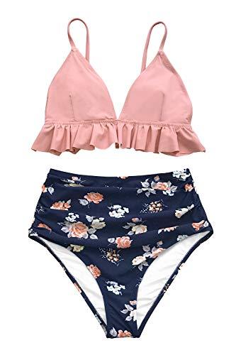 CUPSHE Rankende Rosen Volants Bikini Anzug, Pink, XL