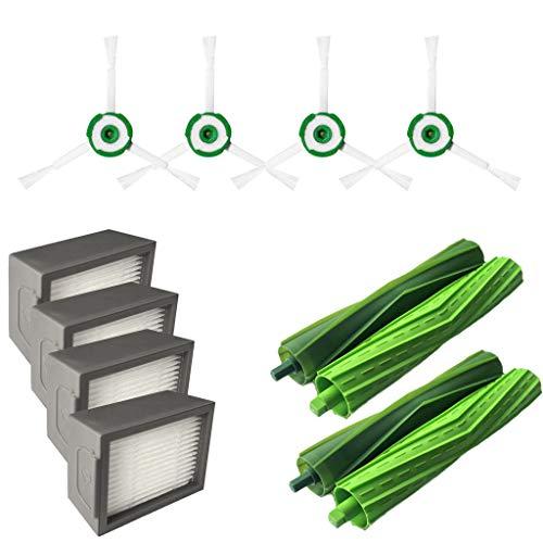HSKB reserveonderdelen kit, onderdelen accessoires voor iRobot Roomba i7 + / i7 Plus E5 E6 E7 stofzuiger, veegmachine, wisfunctie, 2 borstelborstels 2 set borstels 4 zijborstel 4 filters