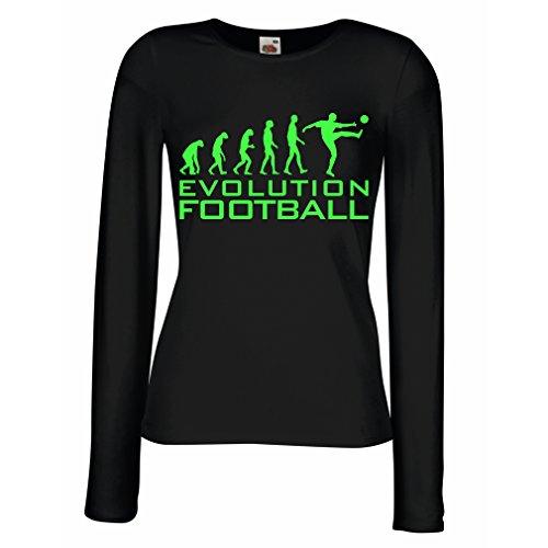lepni.me Camisetas de Manga Larga para Mujer La evolución del fútbol - Camiseta de fanático del Equipo de fútbol de la Copa Mundial (Large Negro Verde)