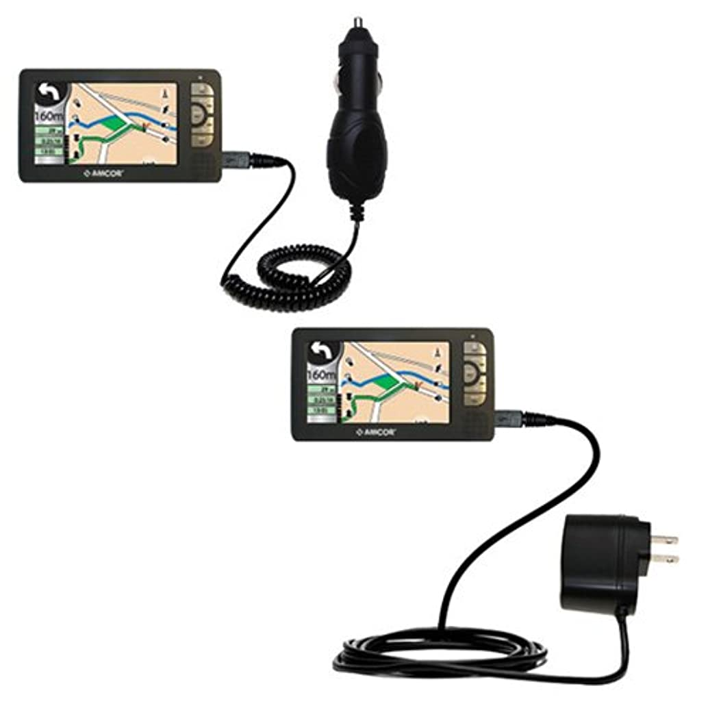 Gomadic Car and Wall Charger Essential Kit for the Amcor Navigation GPS 5600 - Includes both AC Wall and DC Car Charging Options with TipExchange