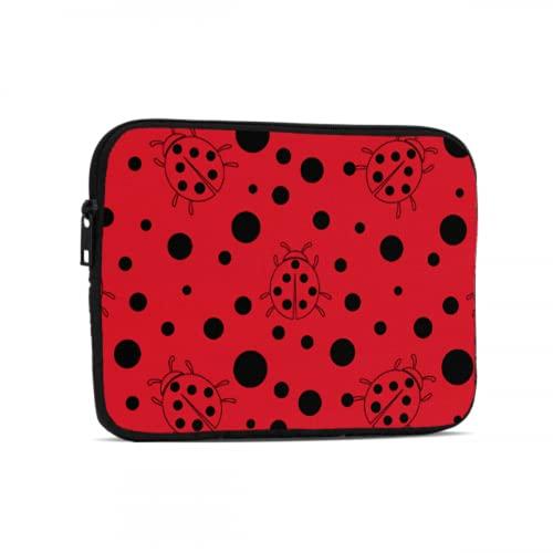 Bolsas de ordenador para hombres negro rojo punto mariquita Ipad bolsa compatible con iPad 7.9/9.7 pulgadas a prueba de golpes neopreno cremallera Tablets bolsa protectora con asa correa