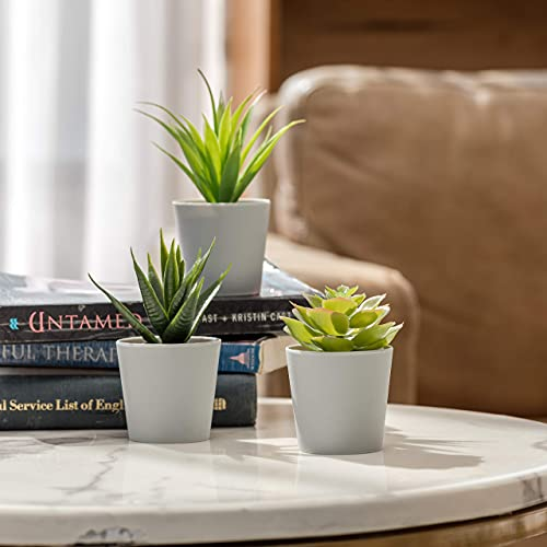 Hejdco Artificial Succulent Plants Set of 3, Small Fake Succulent Potted Plants, in Grey Pot