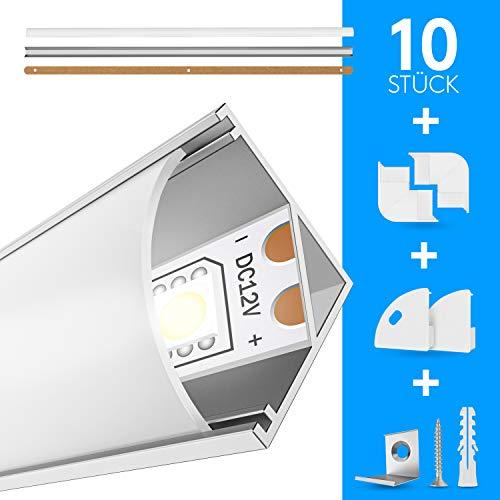 EDELHAND© LED Aluminium Profil 10 x 1m - LED Profil 45 Grad als Komplett-Set mit Milchglas LED Abdeckung für perfektes Licht - LED Alu Profile inkl Eckverbinder, Befestigungsclips und Bohrschablone