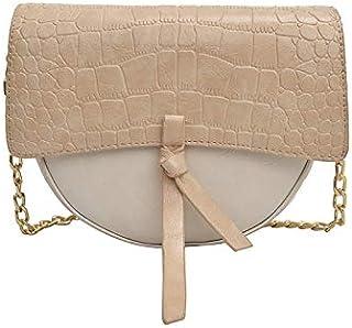 Adebie - New Fashion Alligator Women Saddle Messenger Bag Tassel Semi-Circular Stone Chain Shoulder Bag Candy Brand Designer Shoulder Bag Apricot []