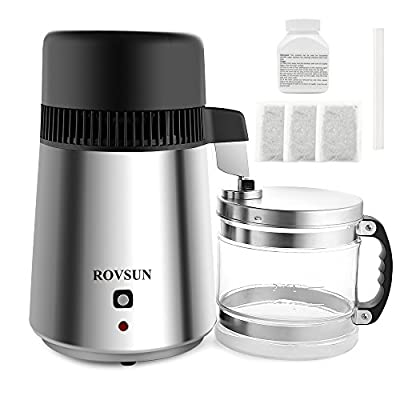 ROVSUN Countertop Home Water Distiller Machine All Stainless Steel Interior,Fully Upgraded Distilled Water Purifier Filter with 4L BPA-Free Container,750W Pure Water Maker,1L/h FDA&CE Listed