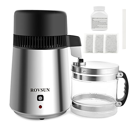 ROVSUN Stainless Steel Countertop Water Distiller Machine 4L Home Pure Water Purifier/Filter, 750W Distilled Water Maker w/Glass Container, 1L/H