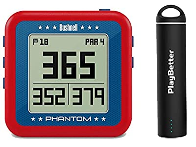 Bushnell Phantom (USA - Red/White/Blue) Power Bundle with PlayBetter Portable USB Charger (2200mAh) | Handheld Golf GPS, Built-in Golf Cart Magnet, 35,000+ Pre-Loaded Courses, Compact & Lightweight