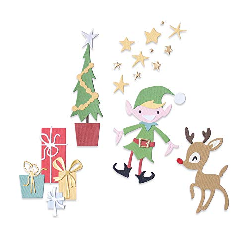 Sizzix 664495-Set Thinlits, Motivo: Babbo Natale, Confezione da 20 Fustelle per Scrapbooking, Multicolor, Taglia unica