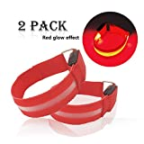 LED Armband for Running Cycling Exercising Glow Light up in Dark Night Running Gear Safety Reflective Sports Event Wristbands with USB Charging Cord (2 Pack Red)