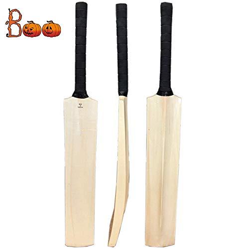 Zeepk Cricket Bat Play Like The Pros Adult Size, Cricket Tennis Ball Bat Handcrafted Kashmir Willow with Durable Comfortable Rubber Grip Short Handle Thick Edge Blade 44mm Light Weight 2lbs (Plain)