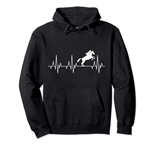 Battito Cardiaco Equitazione Equestre salto ostacoli Cavallo Felpa con Cappuccio