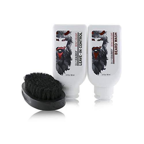 Billy Jealousy Devil's Delight Mens Beard Care Kit with Beard Wash, Conditioner and Soft Black Bristle Brush