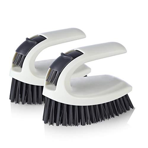 HSL Scrub Brush - Cleaning Brush for Bathroom, Showers, Tiles, Seams, Sinks, Multi-Purpose Heavy Duty Scrub Brush (2 Pack)