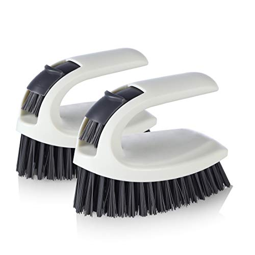 Cleaning Brush - Scrub Brush for Bathroom, Showers, Tiles, Seams, Sinks, Multi-Purpose Heavy Duty Scrub Brush (2 Pack)