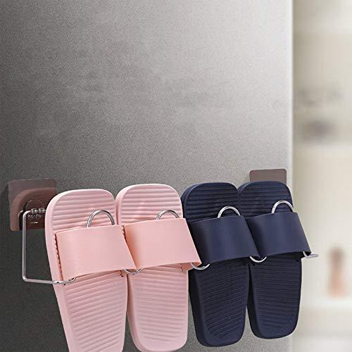 WONOOS Estante para Zapatillas De Baño, Estante para Zapatos Pequeño Montado En La Pared, Puerta De Baño Simple Detrás, Estante para Almacenamiento De Zapatillas para El Hogar