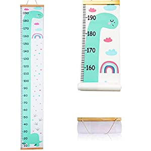 Atomcool Baby Growth Chart, Child Height Chart Handing Ruler Wall Decor for Kids, Wood and Canvas Height Measurement for Baby Nursery Decoration (Green Dinosaur)