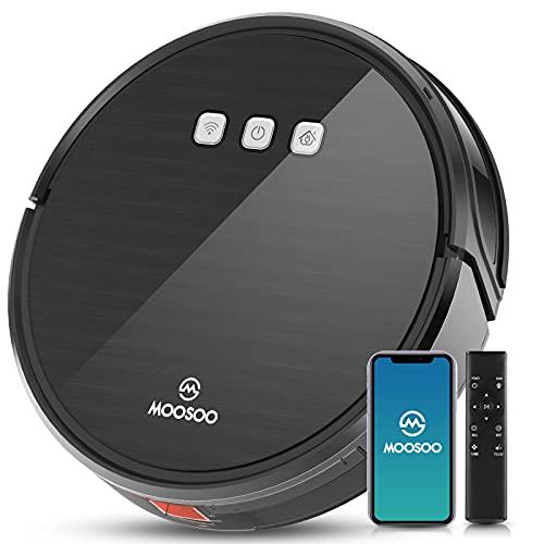 MOOSOO(モーソー) MT501Pro ロボット掃除機 1800pa パワフルな吸引力 自動充電 超薄型 衝突防止 複数清掃モードWi-Fi遠隔操作可能(ブラック)