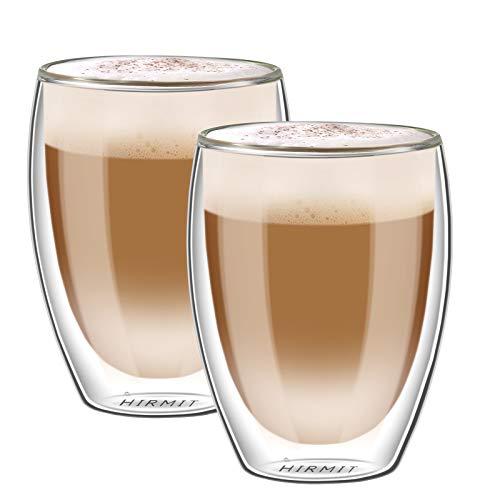 hirmit Doppelwandige Gläser Set Kaffeetasse Trinkgläser für Espresso Tee Latte Cola Cappuccino Getränk (350 ml)