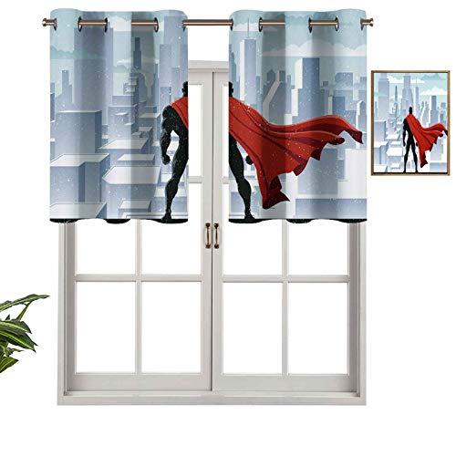 Hiiiman Cortinas opacas con ojales, diseño urbano de Salvador de Justicia, diseño urbano, 132 x 45 cm para sala de estar, dormitorio, decoración del hogar