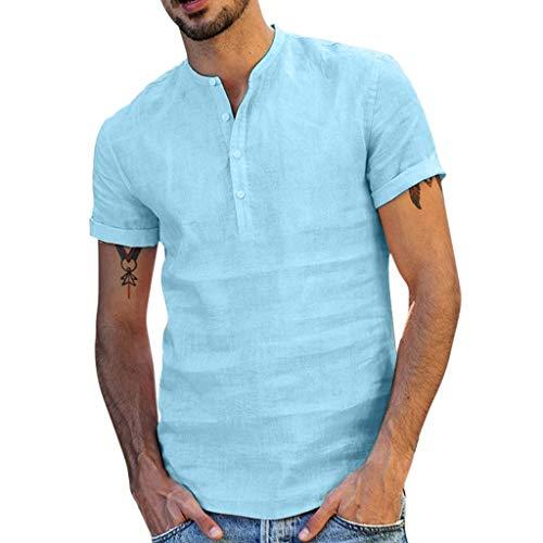 DDLmax - Blusa de Manga Corta para Hombre, Mezcla de algodón, Color Liso, Azul Claro, Small