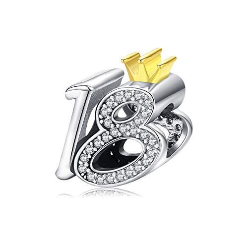 Happy Birthday Charms Anhänger 925 Sterling Silber rotgold Krone 18. Geburtstag Charm für Pandora Damen Schmuck