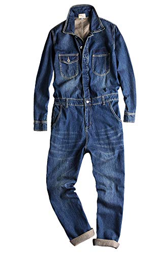 (Gxbo)つなぎ メンズ おしゃれ ツナギ パンツ オールインワン メンズ デニム つなぎ オーバーオール 長袖 ジーンズ カバーオール (XL)