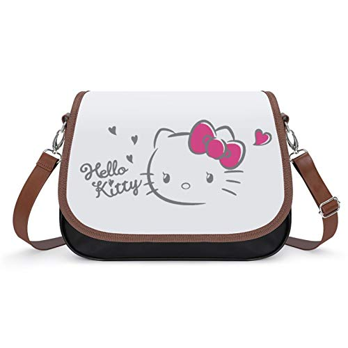 Bolso de piel sintética para mujer, diseño de Hello Kitty y Love Crossbody Shoulder