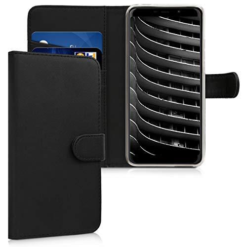 kwmobile Hülle kompatibel mit Wiko View Max - Kunstleder Wallet Hülle mit Kartenfächern Stand in Schwarz