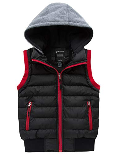 Wantdo Boy's Winter Fleece Linned Vest Warm Sleeveless Thick Jacket Black 14/16