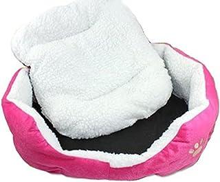 Resulzon Cute Paw Print Comfortable Pets Dog Cats Puppy Kitten Nest Mat Pad Soft Fleece Bed(Pink)