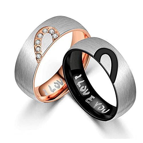 ZIYUYANGRing, anillo de boda para hombres y mujeres, circonita, moda simple, color oro rosa, joyería de compromiso, pareja, 12 imágenes