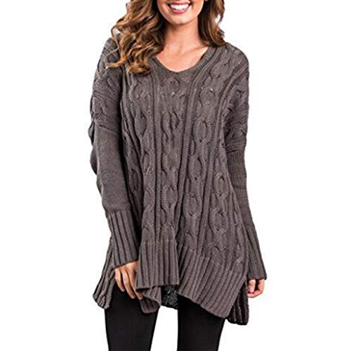 Zytyeu Women Sweater Women Knitted Elegant Comfortable Fashion Casual Sexy Pure Color Plus Size Loose Long Ladies Knitted Sweater Autumn and Winter Casual Women Knitted Sweater Gray. L