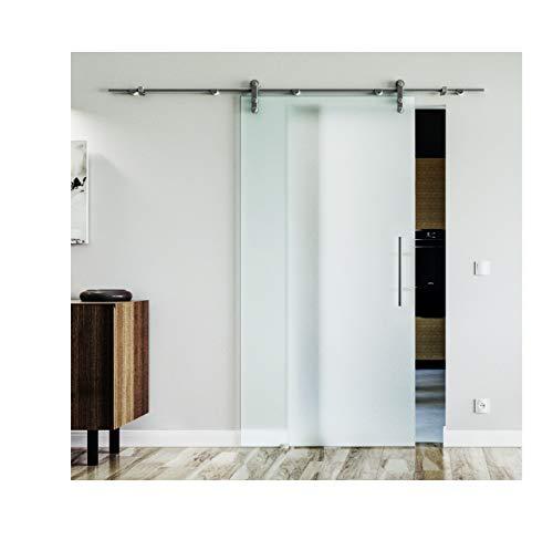 Glasschiebetür inkl. Stangengriff beidseitig - Edelstahlsystem mit offenen Laufrollen in sehr hoher Qualität von LEVIDOR. Vollsatiniert in 775 x 2050 mm für einen Durchgang von 2 Meter Höhe.