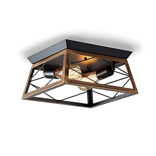 ENCOFT Lámpara de Techo Semi-empotrada Interior, Iluminación de Techo Industrial con 2 Luces, Luz de Techo en Metal Base E27 Ajustable, para Dormitorio Comedor Cocina, Negro Marrón Sin Bombilla