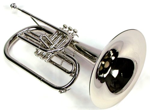 Moz Advanced Monel Pistons Marching Mellophone Key of F with Case and Mouthpiece-Nickel Plated Finish